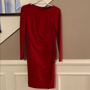 Ralph Lauren Women's Size 4 Red Long-sleeve Dress